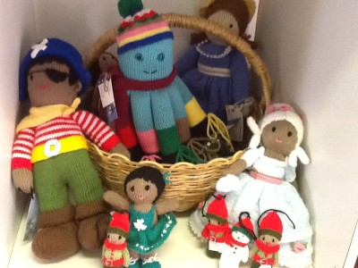Knitted dolls and TV characters.